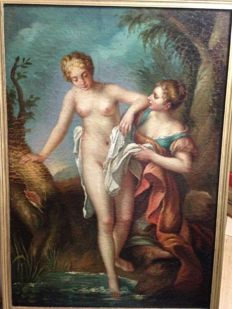 Ecole du XXe d'après F. Lemoine ( 1688 / 1737) - The bain of Venus and the nymph