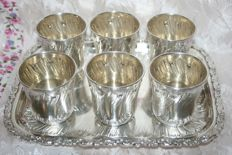 Sterling silver Liqueur serving set, 950/1000 (6 Goblets + Tray) minerva's head hallmark and jeweller's mark on each one: Hack Charles & Hourdequin Achille 1884 Paris