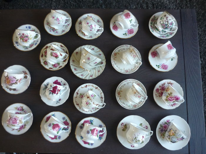 Collection of 19 English vintage cups and saucers Royal Albert, Queen's, Royal Grafton etc.