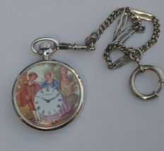 J. Ferencik, romantic style pocket watch on chain.