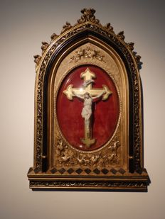 Wonderful crucifix in gold-plated Meerschaum - France - ca. 1850-70