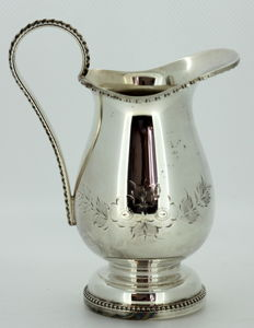 Antique silver plate floral decoration hand engraved cream jar, Made in England, ca.1940