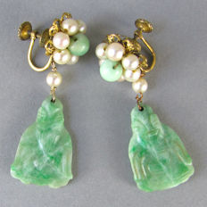 Antique Chinese gold plated drop earrings with natural carved Jade Buddha and pearls, ca. 1920's ( exported to USA )