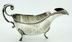 Silver plate hand engraved floral pattern cream jar, Made in England ca.1935