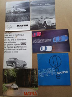 Matra - Set of 6 brochures on models: jet5, jet6, jet5S, m530, missile, Le Mans - circa 1960