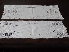 Two table cloths of old linen with beautiful openwork embroidery.