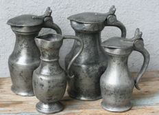 Lot pewter jugs-France-18th century