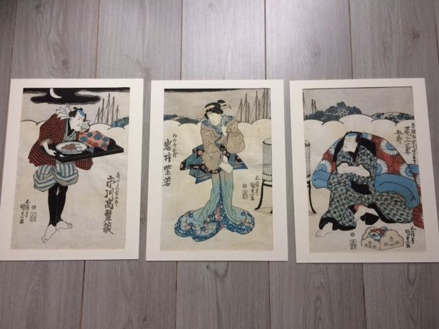 Woodblock triptych by Utagawa Kunisada (1786 - 1865) - Three actors - Japan - 1840s
