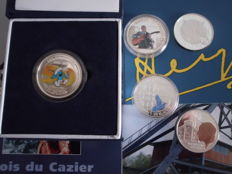 Belgium -  four coloured 10 Euros 2006, 2008, 2010 and 5 Euros 2008 + 10 Euros 2004 (5 coins in total) silver
