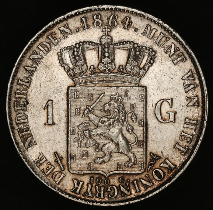 The Netherlands – 1 guilder 1864, Willem III – silver