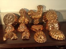 12 x red copper baking - pastry moulds