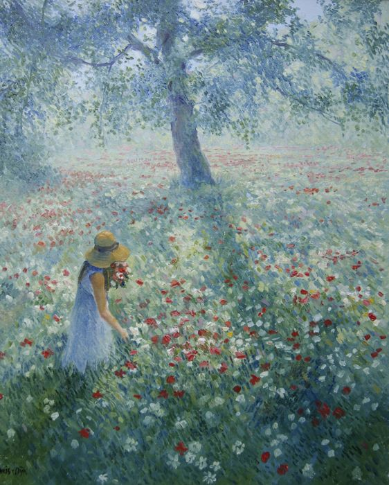 "Chris van Dijk (1952-) - ""Girl in a poppy field, picking flowers / Against the light.""."