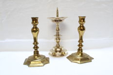 Three Netherlands brass candlestick pricket & normal - 1st half 20th century