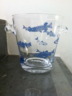 Hans Wap - mouth-blown crystal wine cooler with linocut fish