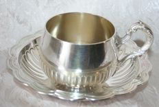 Sterling Silver Cup, by Emile Puiforcat. Paris, sterling silver cup and saucer; Hallmarks: Minerva's head 1st grade, 950/1000