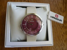 Swiss Lady pale beige and burgundy watch