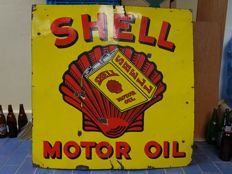 LARGE VERY RARE Enamel Sign SHELL MOTOR OIL - England - ca 1920-1930