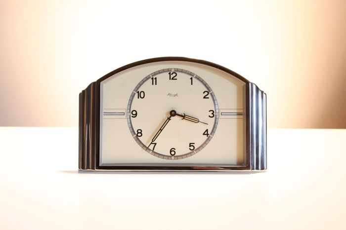 Chrome table alarm clock - Kienzle - circa 1940, Art Deco