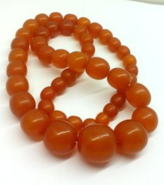 Butterschotch orange colour beaded necklace of Baltic Amber, 88,05 g