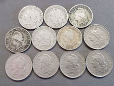 Argentina – Lot of 12 coins of 5 cents – Including 1897-99
