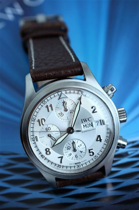 IWC Der Flieger Chronograph Day-Date marked White Silver Dial