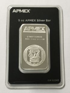 USA: 5 oz silver bullion APMEX, in blister welded