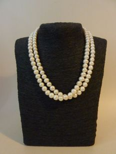 14K 17.3 inch double strand necklace -south sea cultured baroque white pearls - -17.3 inch