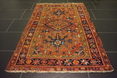 Beautiful old hand-knotted Persian carpet, Heriz, plant colours, 100 x 139 cm, made in Iran.