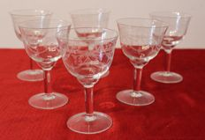 6 French Louis XVI style engraved crystal glasses