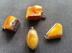 4 Natural Art Deco Baltic Amber pendants, set with 925 silver