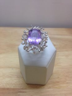 Hand-made ring with amethyst, made in Italy – size:  15