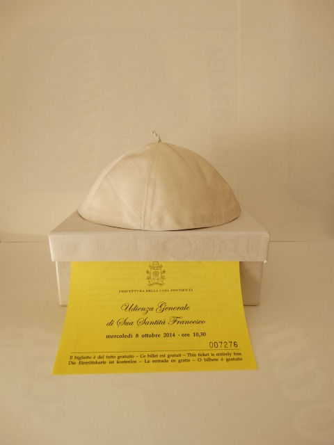 Authentic skullcap worn by Pope Francis - 21st Century