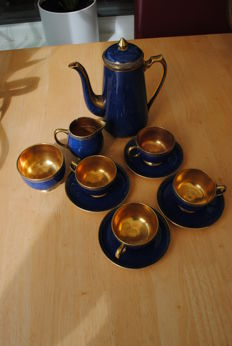 Carlton Blue and Gold Gilt Decorated Coffee Set