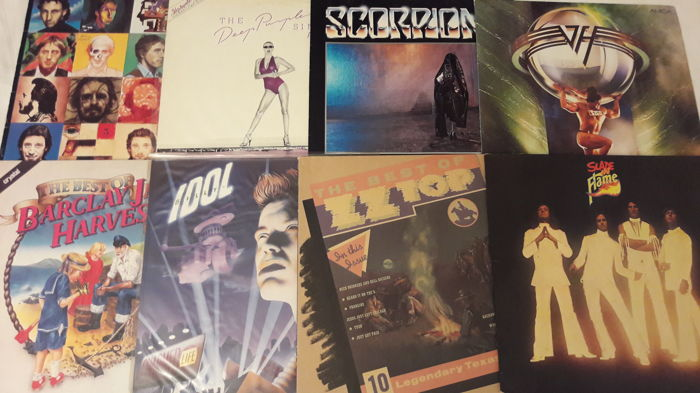 Set of 8 Rock LP Album - Van Halen, Barclay James Harvest, Scorpions, Deep Purple, The Who, Slade, ZZ Top, Billy Idol.