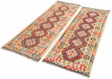 NO RESERVE ! Pair of DOUBLE FACE PICTORIAL NEW Afghan Oriental Hand Woven Veg Dyes Kelim Area Rug 209 cm x 72 cm, 200 cm x 72 cm