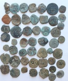 Spanish Empire – Lot of 50 copper coins and 10 billon coins, very interesting