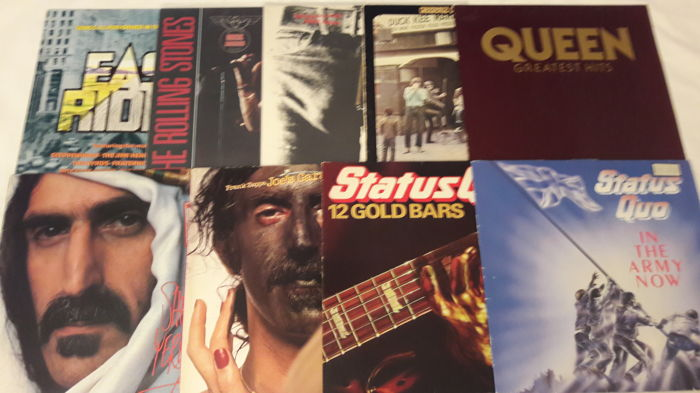 Set of 9 Rock LP Album - Frank Zappa 2x (both 2 LP Double Album), Queen, Rolling Stones, Creedence Clearwater Revival, Status Quo 2x, Various Artist.