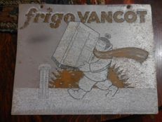 Aluminium advertising sign - Frigo Vancot Gent - 1949
