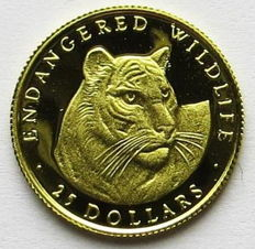Cook Islands – 25 dollars 1990 'Endangered Wildlife / Tiger' – 1/25 oz gold