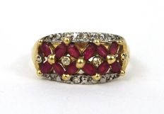 14ct gold ruby and diamond dress ring