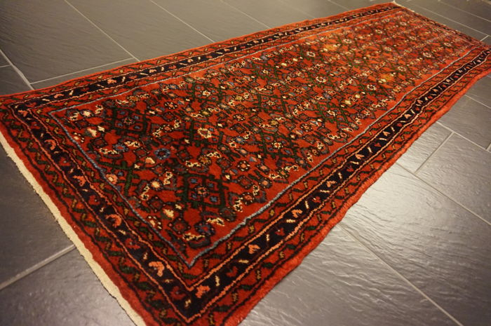 Old high-quality Persian carpet, Hamadan, made in Iran, 75 x 205 cm