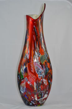 "Mario Costantini - large vase ""lingua di fuoco"", unique piece (65 cm)"