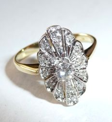 14 kt / 585 gold ring weighing 0.40 ct. Diamonds and ring head in marquise shape in Art Deco style, ring size 51 / 16.2 mm