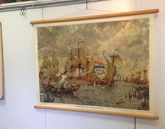 School poster:  Incoming fleet before Amsterdam (on the IJ)