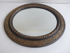 Old oval mirror with carved wood frame, original and vintage - Italy - late 1800s