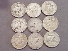 Portugal - Lot of 9 coins of silver 2.5 Escudos.