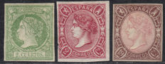 Spain 1860–1865 – Isabel II, 2 cu. green, 2 cu. pink, 19 cu. brown pink – Edifil No. 51, 69, 71.