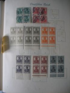 German Reich - inflation collection blocks of 4