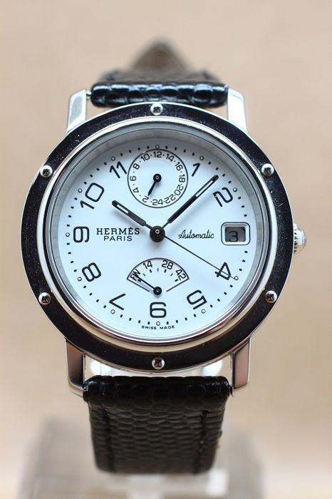 Hermes Clippers Power reserve and GMT Automatic, marked white dial with arabic numerals