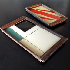 2 trays, base with decorations inspired by abstract art, from the 1950s ca